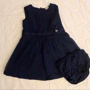Carters Navy Blue Chiffon Dress with Diaper Cover
